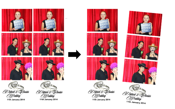 Photo Booth Photos 3 Strips Cut Layout